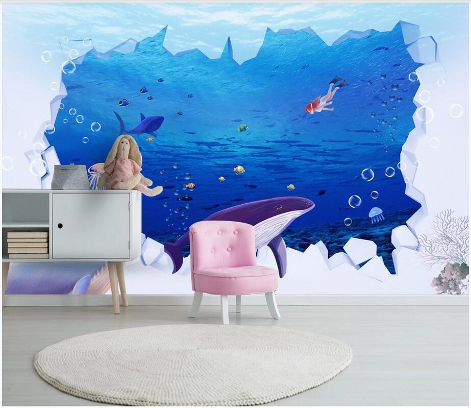 3d wallpaper custom photo mural 3D cartoon shark underwater world children's room background decoration painting furniture wallpaper