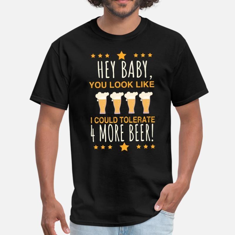 Drucken Bier Vertrag Durst Trinken Sprichwort-T-Shirt für Männer aus 100% Baumwolle O-Ansatz berühmten Herren T-Shirt Short Sleeve Female Hip Hop
