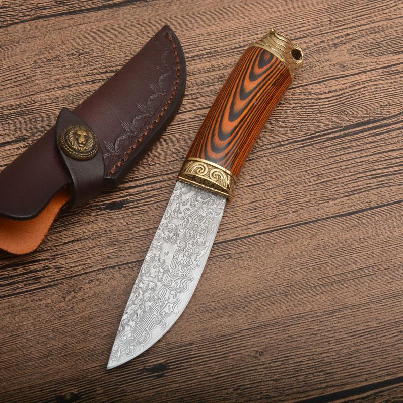 High Quality Outdoor Survival Straight Hunting Knife Damascus Steel Drop Point Blade Color Wood + Steel Head Handle