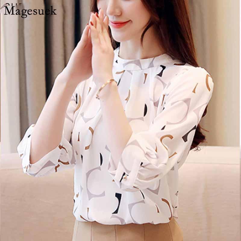 2020 Imprimir blusa de la gasa de las mujeres camisas blusa blanca señoras de la oficina Tops Tops Blusas Mujer De Moda para mujer y blusas 2480