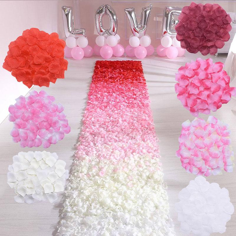 500 / día romántico de seda pétalos de rosa artificial partido de las flores la boda de Rose Accesorios Decoración de 1000Pcs multicolor Valentine
