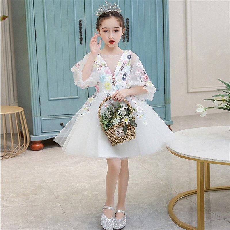 Il bambino scherza coreano sveglio dolce della festa di compleanno nozze principessa Mesh Dress Little Girls Host Esposizione di modello Passerella abito da ballo VdNC #