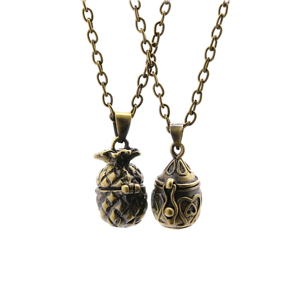 Five Pairs Of Retro Oval Pet Ashes Souvenir Minimum Pineapple Cremation Wishing Bronze Necklace Pendant