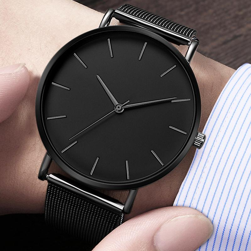 Men Watch Watches casuale semplice Lancette in metallo Reloj orologio al quarzo Montre maglia di acciaio inossidabile Erkek Kol Saati Masculino Clock