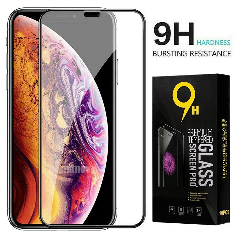 Pantalla de cristal templado curvado de la cubierta completa del protector de alta calidad protector de la película para el iPhone Pro Max 12 11 XS XR X 8 7 6 6S Plus SE 2020 con Box