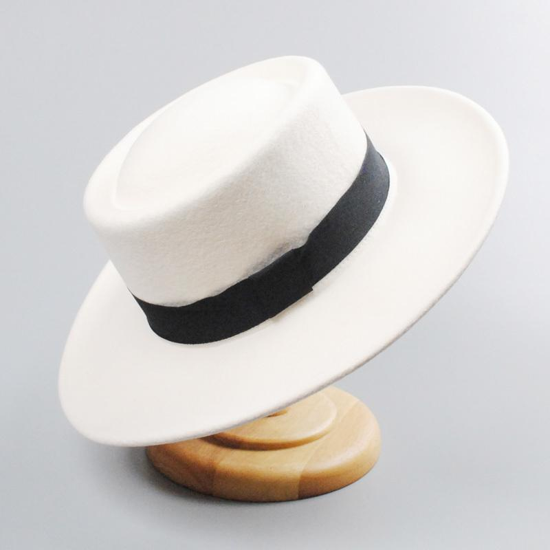 Düğün T200718 Kış Yün Fedora Hat Beyaz Kilisesi Şapka Kadınlar Erkekler Keçe Panama Domuz Pie Hat Güz