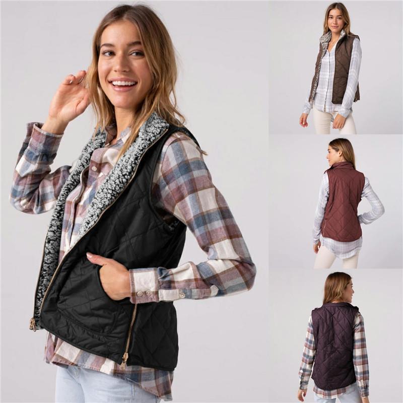 Frauen Herbst-Winter-Fleece-Weste beiläufige Revers Ausschnitt Oberbekleidung Ärmel Plüsch Mäntel mit Taschen und Zipper