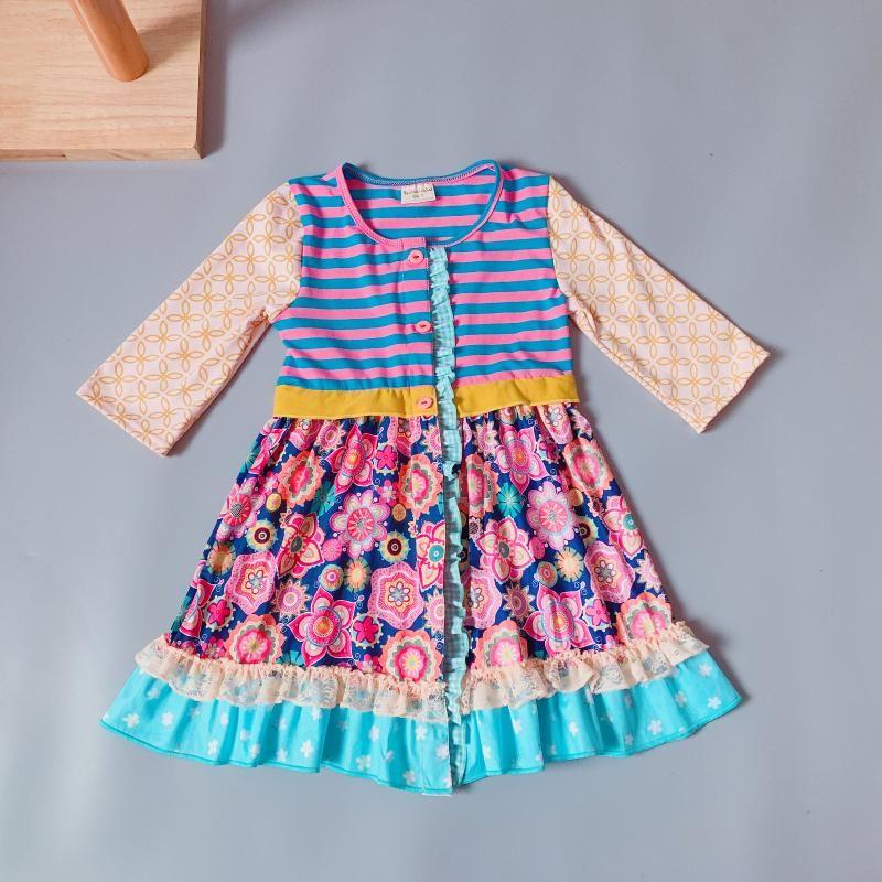 فساتين الفتاة 2-8t springautumn طفل الفتيات يتسابق الأطفال كشكش اللباس عارضة المشارب الصغيرة botique أنماط زر الملابس