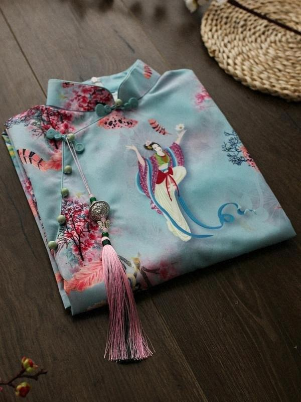 Qipao vintage élégant pour les femmes enceintes de conception de stands collier amélioré en vrac qipao robe style chinois robe de maternité ZL778 URkb #