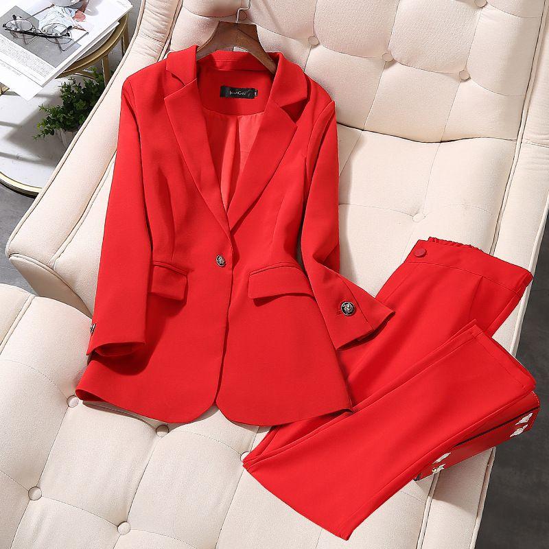 Высокое качество костюм брюки двухкусочные костюм плюс размер женщин M-5XL 2020 новых высокого качества дамы блейзер бизнес случайные брюки T200716