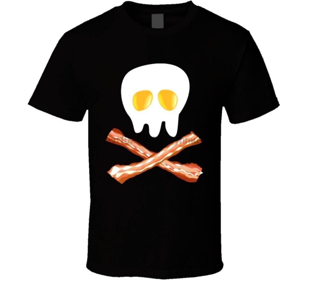 Tocino y huevos cruzadas y Cráneo divertido del pirata camiseta