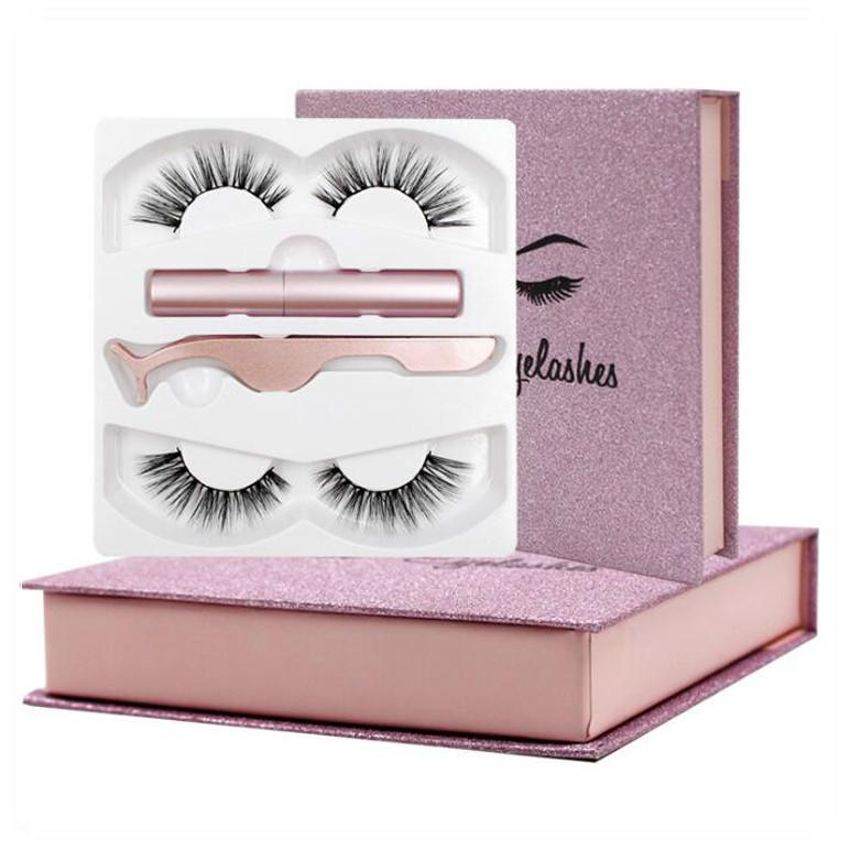 Augen Make-up Tools 2 Paare Magnetische falsche Wimpern magnetischer Eyeliner setzen 3D dreidimensionale Nachahmung Nerz Haar kleister