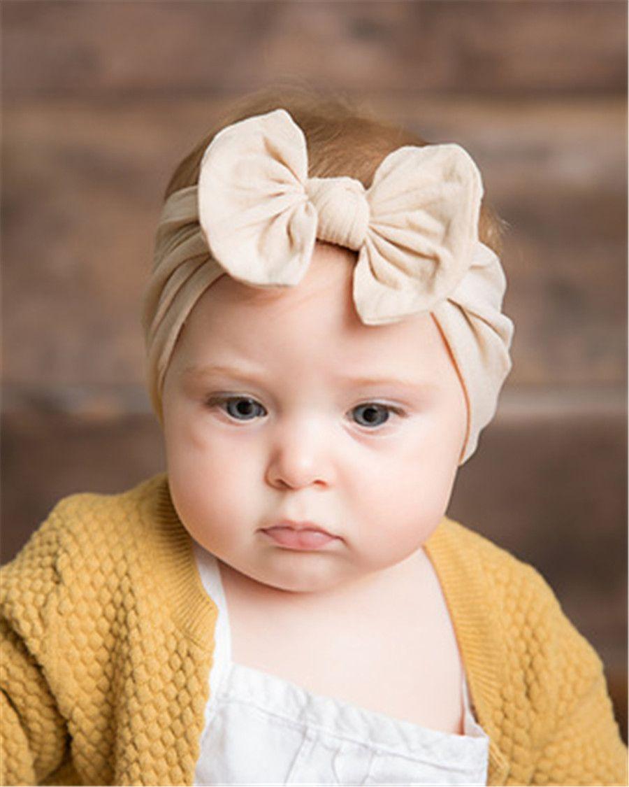 الطفل العمامة بيبي رباطات الطفل بنات Hairbands القوس عقدة العصابة لينة الأزياء Headwraps اكسسوارات الشعر النايلون