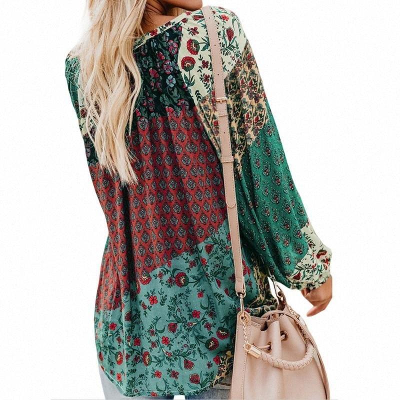 2020 2020 nouvelles femmes Hauts et blouses à manches longues Mode Vintage Floral Chemises Blouses Automne Casual lâche V Neck Shirt # QmFM Tops Chemise
