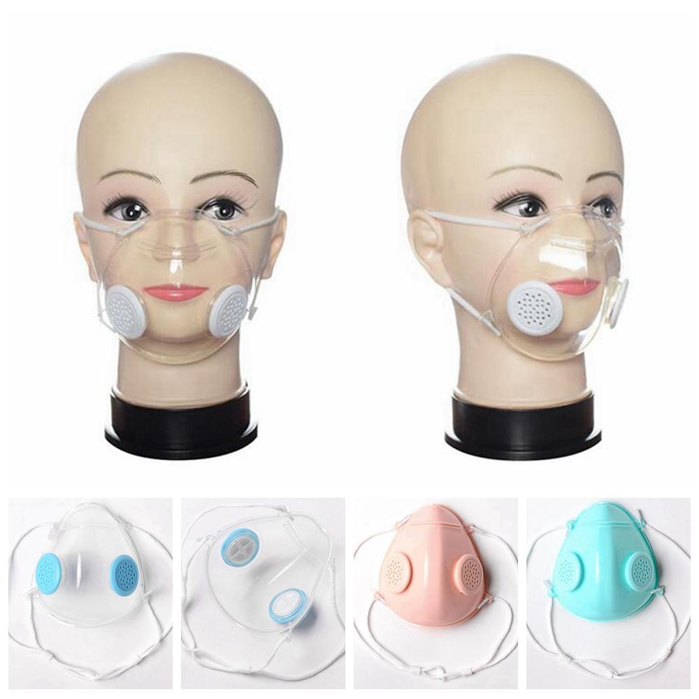 Прозрачная маска для лица Double Дыхательные клапан для глухонемых людей Дизайн Защитные маски Clear Anti-Dust многоразовый Рот Обложка LJJP169