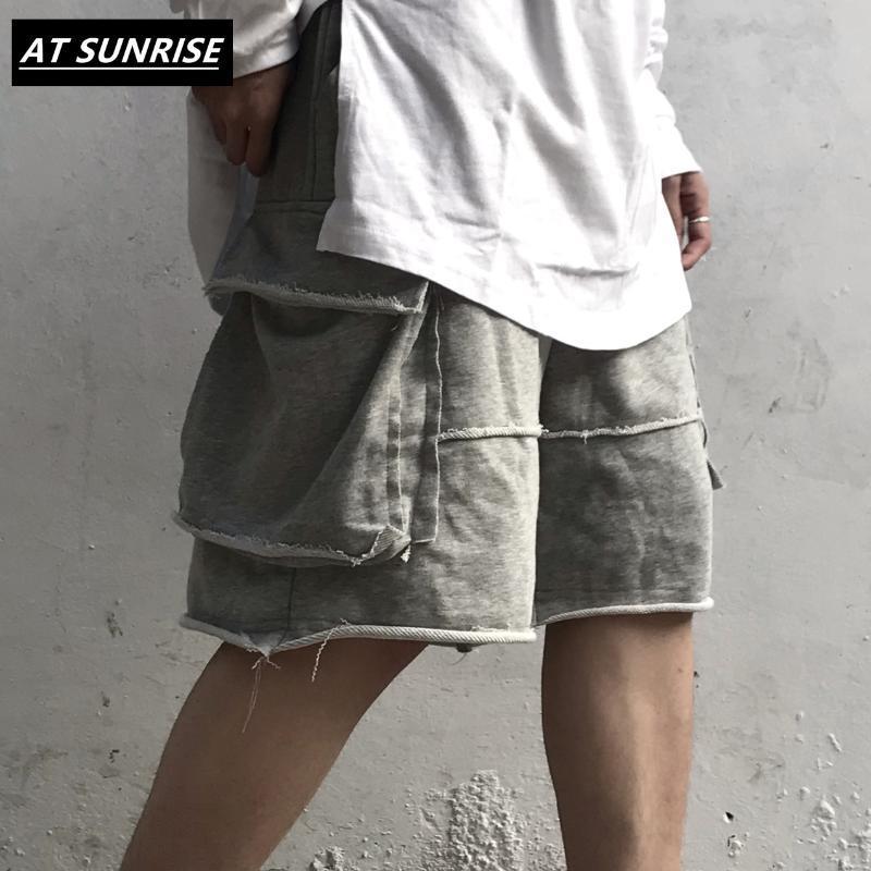 Hip High Street Pantalones cortos de Calle Harajuku del basculador cortos de verano Hop Hombres Sweatpant bolsillo de algodón ocasionales flojas gris negro corto