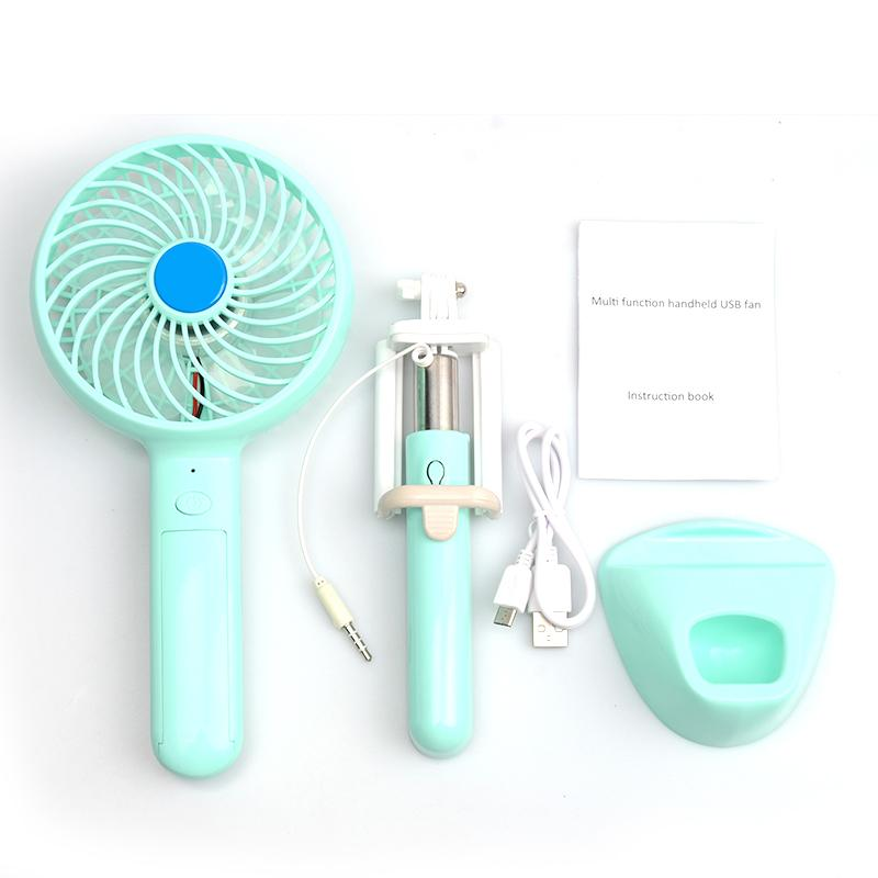 C16 Portable Multifunctional Power Bank + Mini USB Fan + Phone Stand Holder + Selfie Stick 4 in 1 18650 Battery Inside