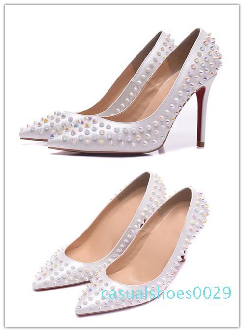 Fashion Designer design di lusso delle donne di rosso scarpa tacco alto fondo nero nudo pelle rossa la punta del piede Pompe Dress c29 scarpa