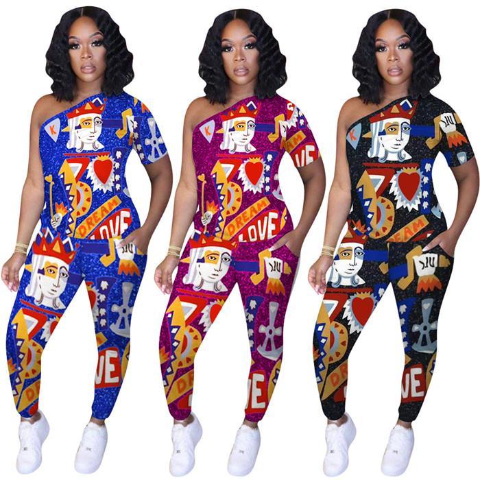 Le donne una spalla Tuta Slim Fit carte da gioco a maniche corte maglietta e pantaloni Famale 2pcs Suit