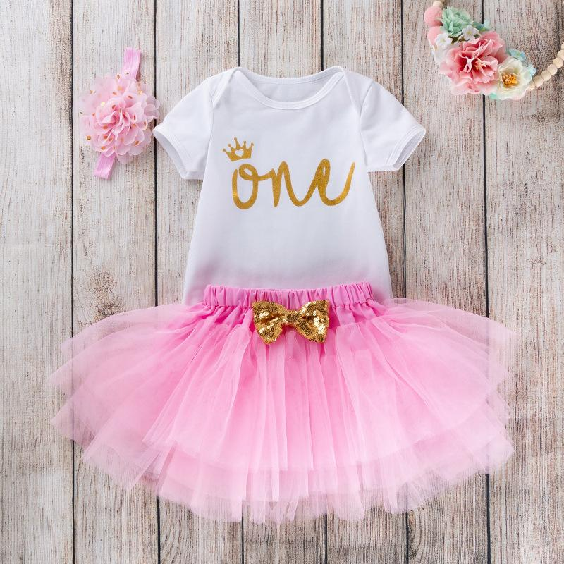 Nuova neonata Summer Holiday Ins esplosione modelle 0-2 Birthday Letters pagliaccetto principessa Dress del vestito di moda