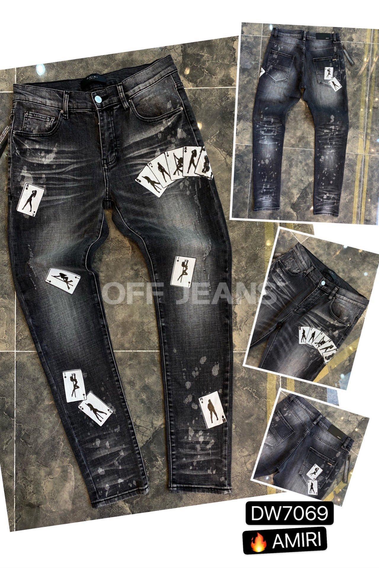 Erkek Jeans Hip Hop Pantolon Stilist Jeans Sıkıntılı Biker Jean Slim Fit Motosiklet Denim Jeans Boyutu 28-40 ~~ FS34 Ripped ##