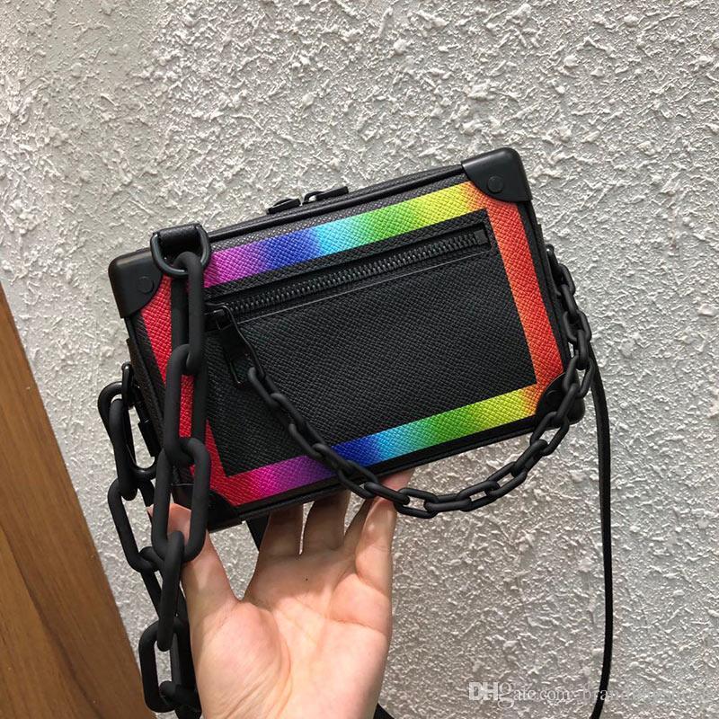 Luxo BBDRW Macio Body Rainbow Modification Saco de Luxo Bags Mens Bolsas Marca Bolsas Cadeia Caixa Caixa Cruz Crossbody Mini Classic Sniev