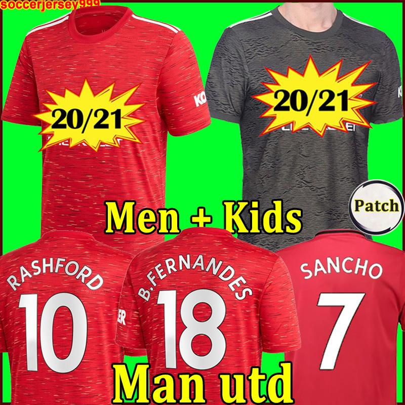2020 2021 FC Manchester United soccer jerseys RASHFORD FERNANDES POGBA maillots de football shirt LINGARD MARTIAL maillot de foot uni UTD 20 21 kit homme + enfants enfant MAN de la
