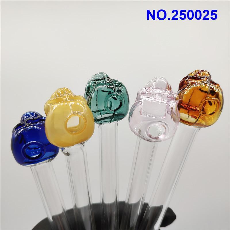 New Oil Pipe en verre populaire brûleur pour l'eau Bongs en verre coloré Crâne de tabagisme Pyrex huile brûleur eau Tuyaux main Bangs Dab Rigs 2525