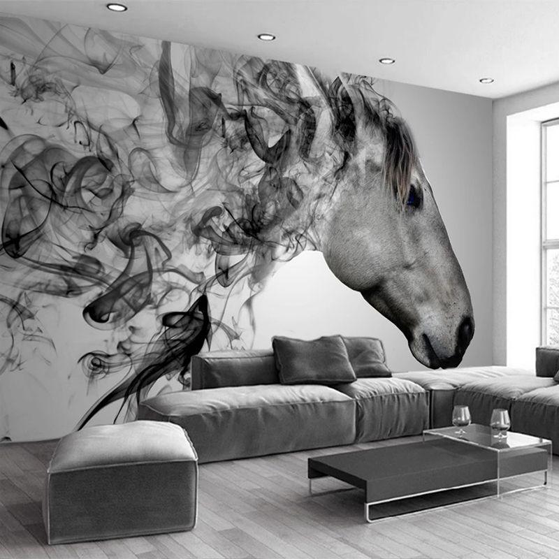 Custom 3D Photo Wallpaper Abstract Oil Painting Black And White Horse Animal Living Room Restaurant Hotel Wall Mural Wallpaper