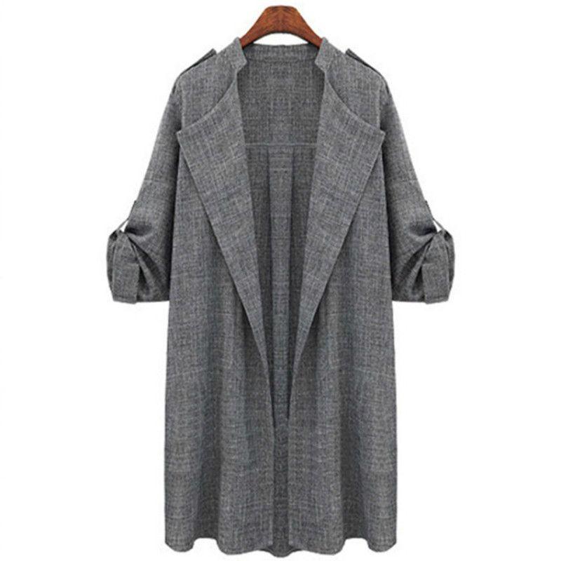 2020 chaqueta de primavera coreano de las mujeres cazadora suelta de manga larga sólido Escudo Abrigo elegante señoras de la oficina de gran tamaño 3XL 5XL CX200728 largo