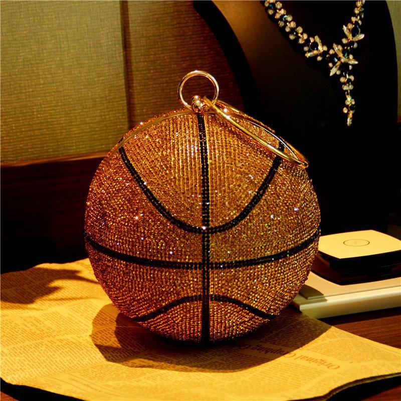 Bee in volo di pallacanestro della sfera rotonda d'oro frizione Borse per le donne sera strass borse da donna Dinner Party Bag