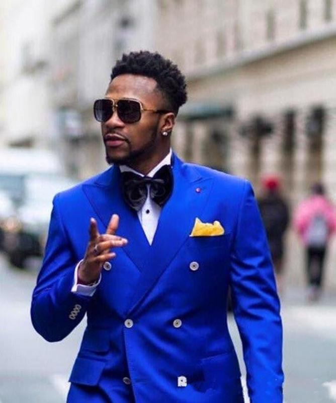 Latest Royal Blue Groom Tuxedos Excellent Double-Breasted Groomsmen Wedding Tuxedos Men Formal Dinner Party Prom Blazer Suit