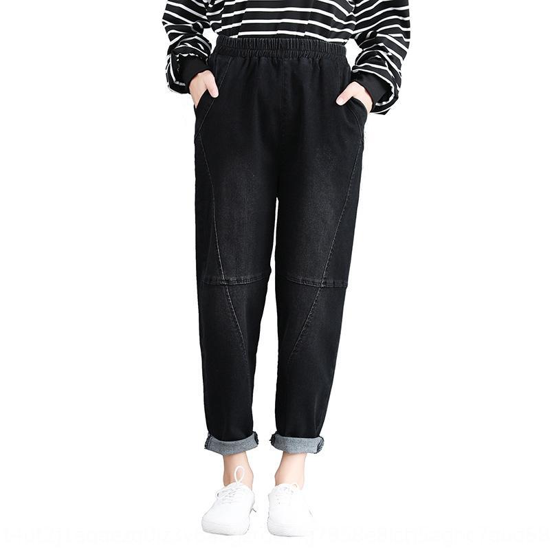 AzXLB Kadın pantolon şişman kızlar için 2020 Sonbahar Yeni Kore tarzı gevşek zayıflama büyük boy pantolon harem oldu Kadınların Wear giyen şişman kızlar 2020