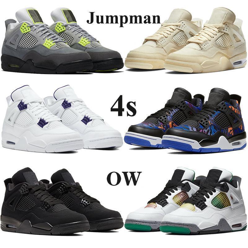 Jumpman 4 4s Basketbol ayakkabıları Erkekler Kadınlar Krem Yelken Muslin siyah spor Spor ayakkabılar siyah acele menekşe SE neon siyah kedi 2020 metalik Atletik Tr