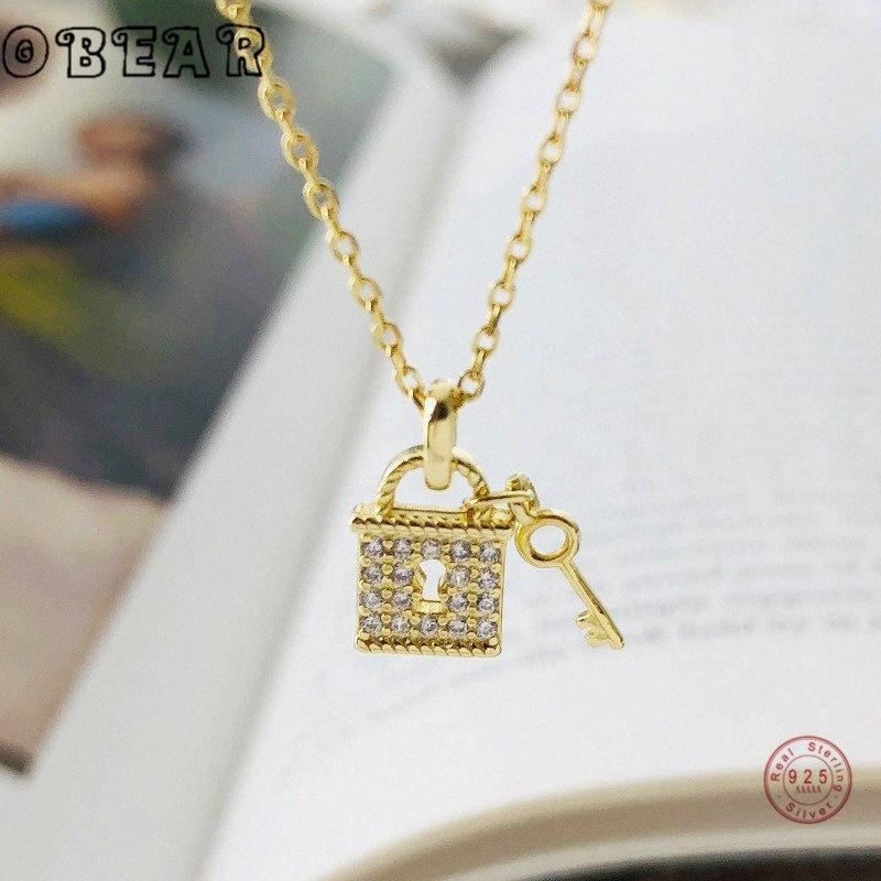 Obear neues 100% 925 Sterling Silber Micro Zircon Schloss und Schlüssel-Anhänger-Halskette für Frauen-Schmucksachen Geschenk 9xXV #