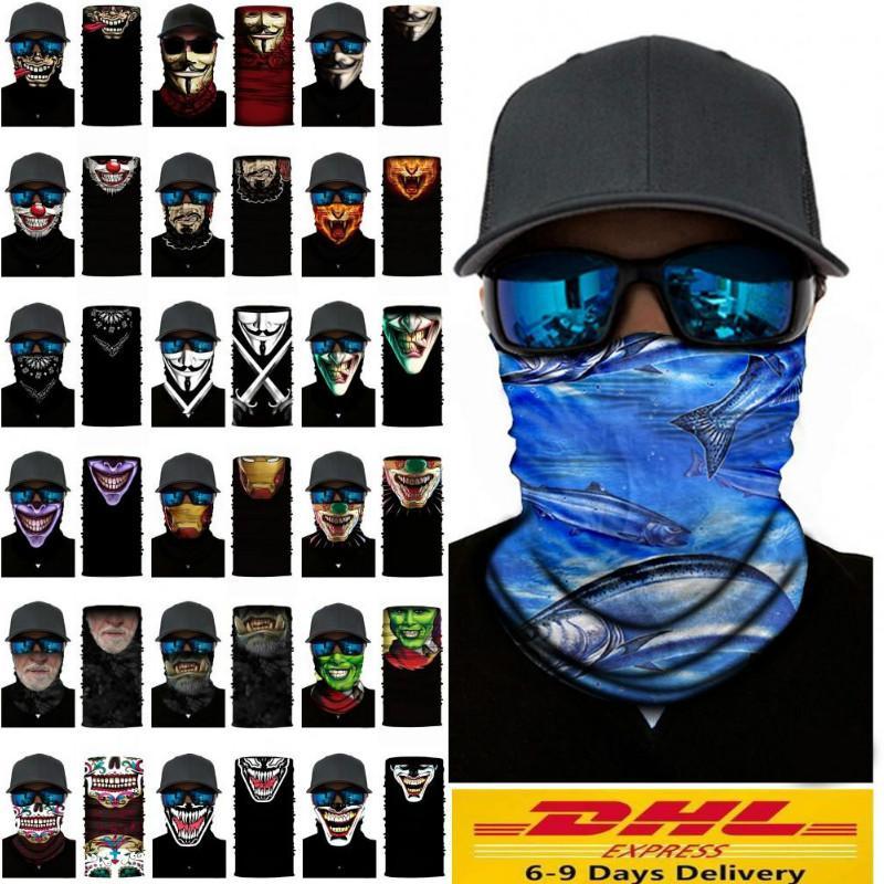 El envío rápido de Cosplay de bicicletas cráneo de esquí de la media cara unisex de Halloween máscara del fantasma de la bufanda del partido más caliente del cuello del pañuelo diadema mágica turbante