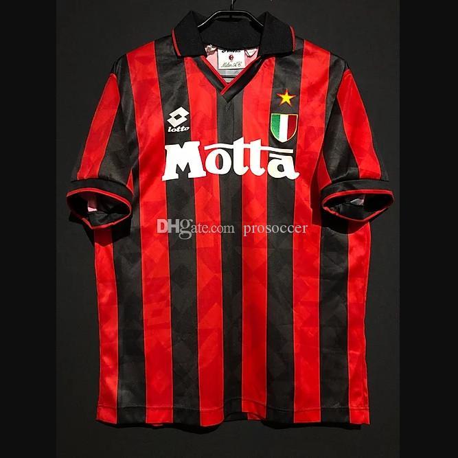 Retro AC Milan Futebol Jerseys Papin Albertini Desailly Maldini Laudrox Baresi Bierhoff Leonardo Weah SHEVCHENKO Kit Vintage Camisa Clássica
