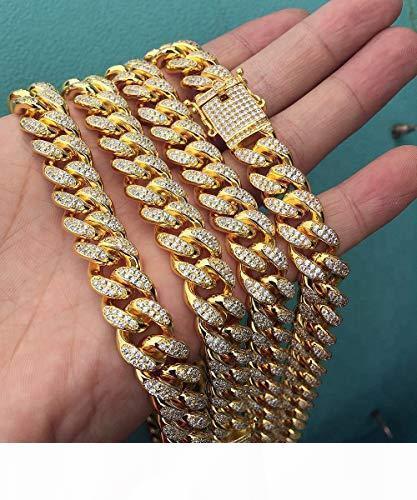12MM 14K مطلية بالذهب الكامل مثلج خارج الزركون الماس مختبر الكلب الكبير ميامي رجل الكوبية المختنق صلة سلسلة قلادة