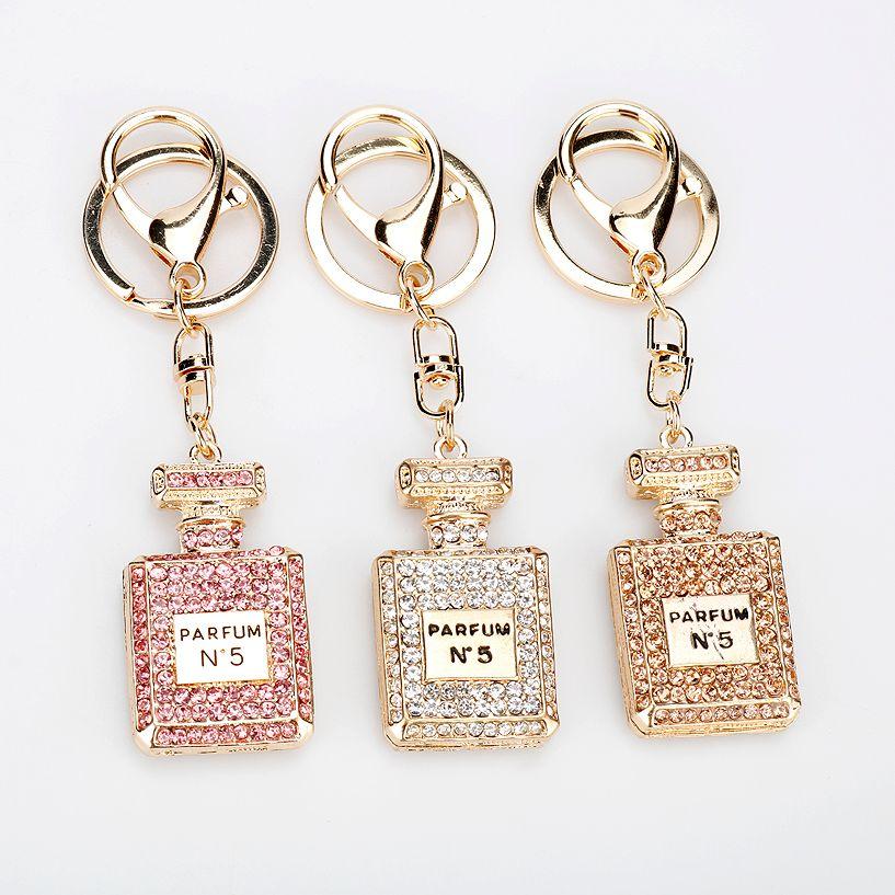 أزياء العطور زجاجة المفاتيح مجوهرات 3 ألوان حجر الراين كريستال طرفة كيرينغ الفتيات الهدايا تذكارية حقيبة يد قلادة هدية