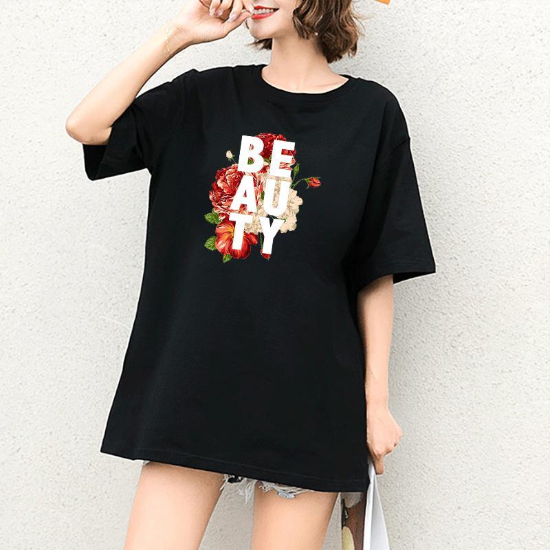 Le donne magliette di estate del progettista delle ragazze stampa floreale T-shirt ragazze Casual White Letter Stampa Top Fashion Tops maniche corte Outdoorwear