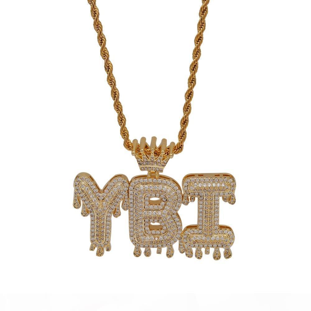 Uwin Crown iniziale collana pendente lettera customzie Bubble iniziali Parole Lettere Oro Argento rosa color Nome Oem link J190713