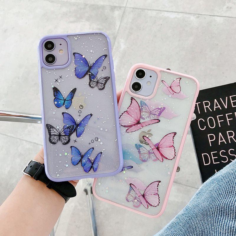 Бабочка телефон Cute Laser Фиолетовый чехол для iPhone 11 Pro Max SE 2 2020 XR X XS MAX 7 8 Plus Блеск Clear Силиконовый чехол Coque
