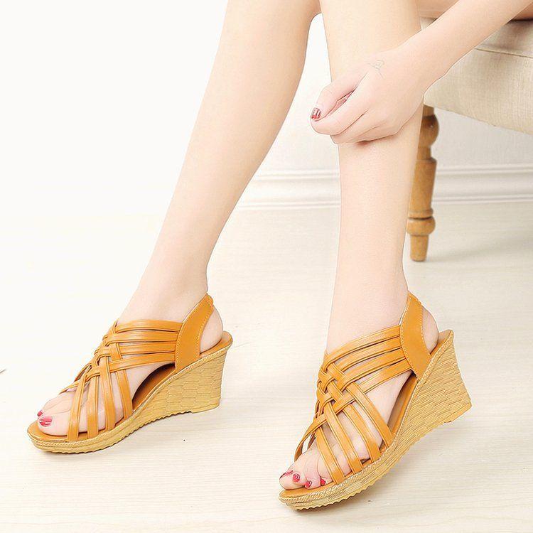 2020 verano nuevas sandalias de las mujeres sandalias de cuña ocasionales de tacón alto de la abrir-punta del comercio exterior al por mayor el envío libre CS02 anual