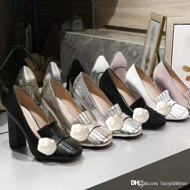 auténtico diseño de lujo piel de vaca de tacón alto zapatos de mujer zapatos del barco del resorte del otoño atractivo banquete barra de 10 cm de metal hebilla de los zapatos de tacón grueso 34-42