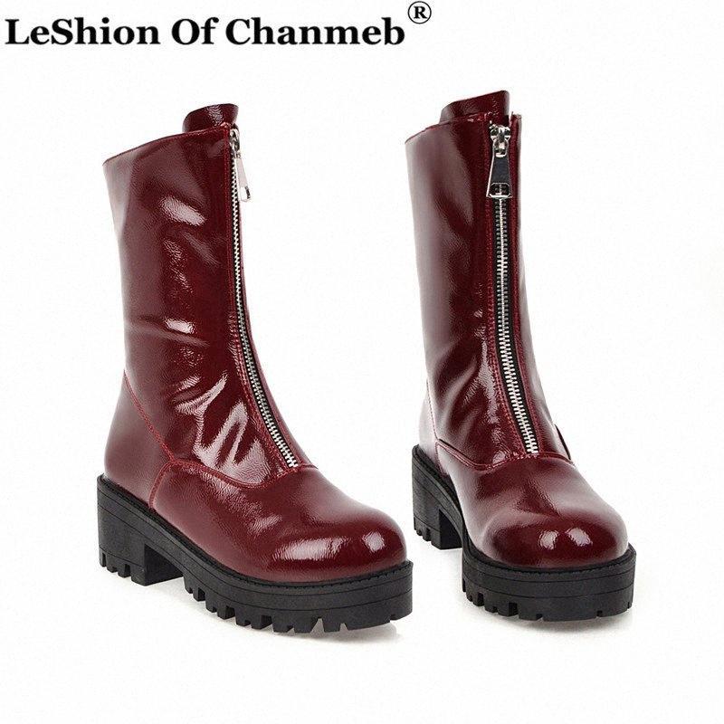 Plataformas Street Style gruesos tacones botas de combate del ejército para las señoras cremallera frontal blanca cargadores del tobillo de las mujeres de talla 46 Zapatos Botas Femenina JQBh #