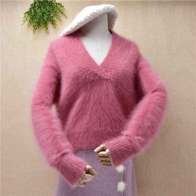 mujeres de las señoras de la moda dulce con cuello en V de color rosa cosecha corta de visón parte superior de la cachemira suéter de angora de piel suelta de punto suéter de invierno puente xxPQ #