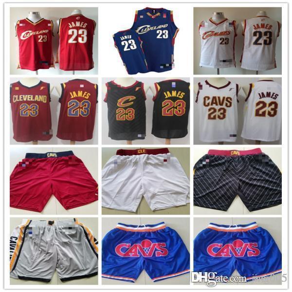 ErkeklerinClevelandCavaliers23LeBronJamesKırmızı beyaz lacivert siyah Basketbol Şort Basketbol Formalar