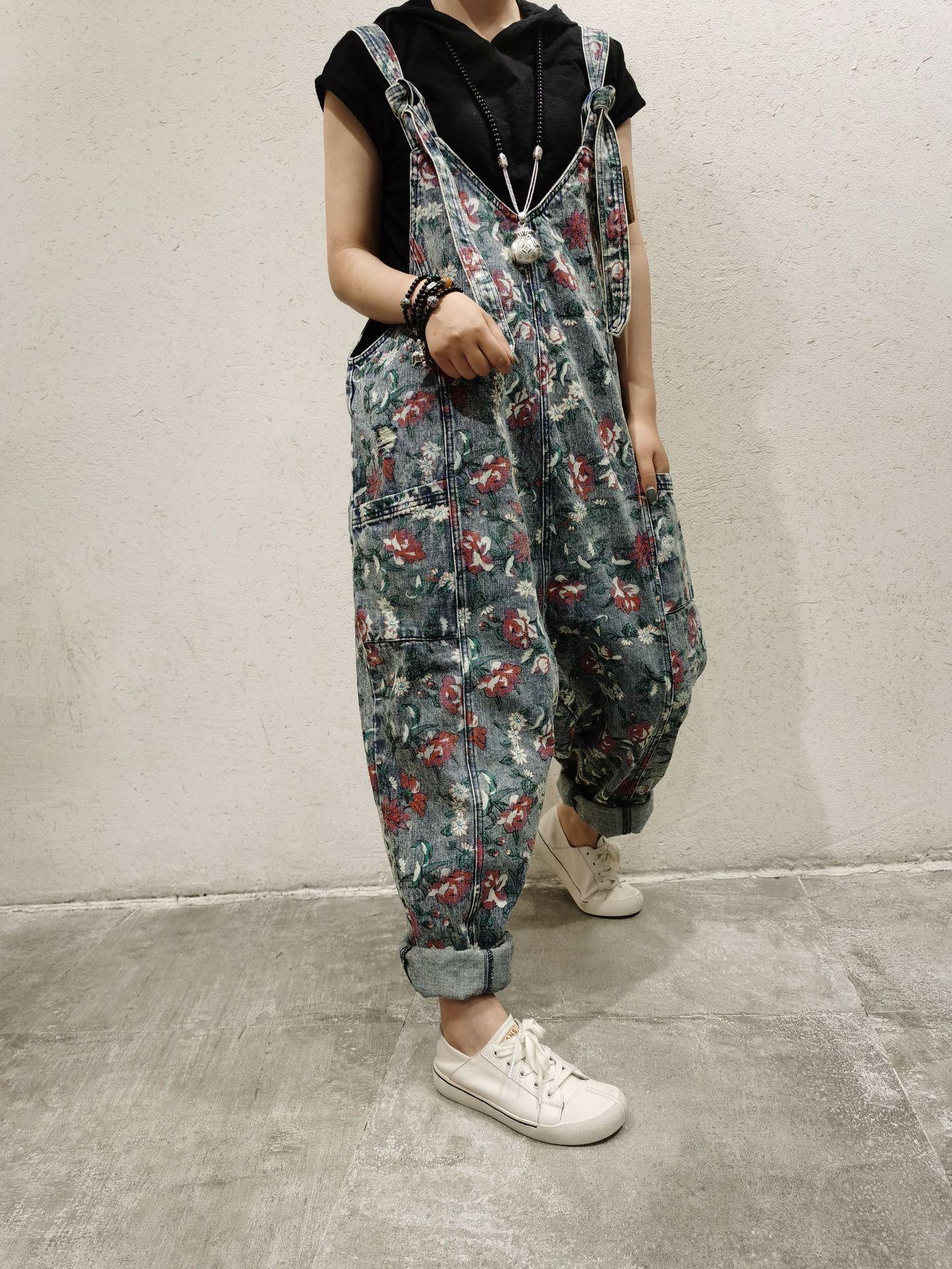 primavera yvkSY marzo nuovo grande formato denim bretella pantaloni stile coreano sciolto vecchia Sling slingprinted tuta all'età riducendo marzo nuova primavera lar