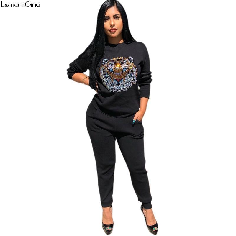 2020 Nuevo otoño manga larga animal tigre sudadera lentejuelas pantalones largos 2pcs conjunto de mujeres Trajes deportivos Trajes de chándal Y130