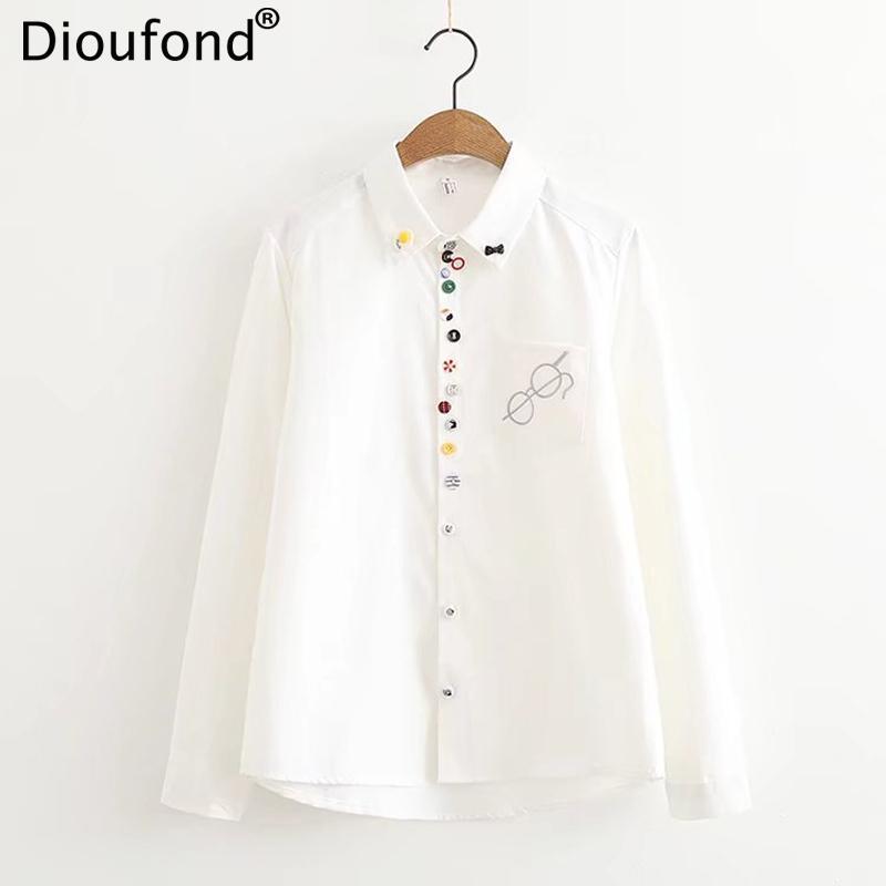 Dioufond outono dos desenhos animados bordado branco Mulheres manga comprida Blusas coloridas Casual botões da camisa de algodão Mulheres Tops Blusas 2020